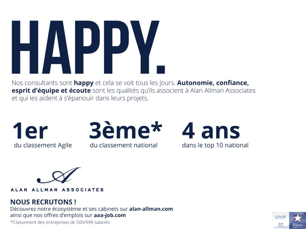 Happy At Work  : Alan Allman Associates, 1er du classement Agile et 3ème National du classement